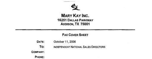 The Actual Fax Mary Kay Inc. Sent to the National Sales Directors